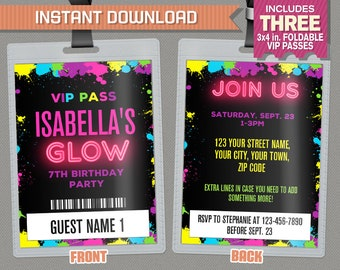 Neon Glow Party VIP Pass Invitations - Neon Glow Party Vip Pass - Glow in the Dark Party - Edit and print at home with Adobe Reader!