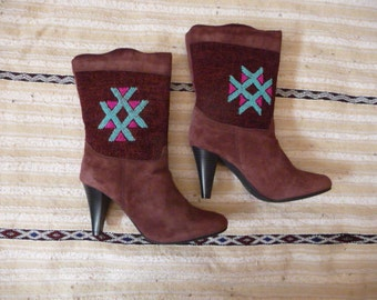 Beautiful high heel kilim boots