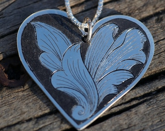 Flowing Leaves Sterling Heart Pendant, Hand Made, Hand Engraved