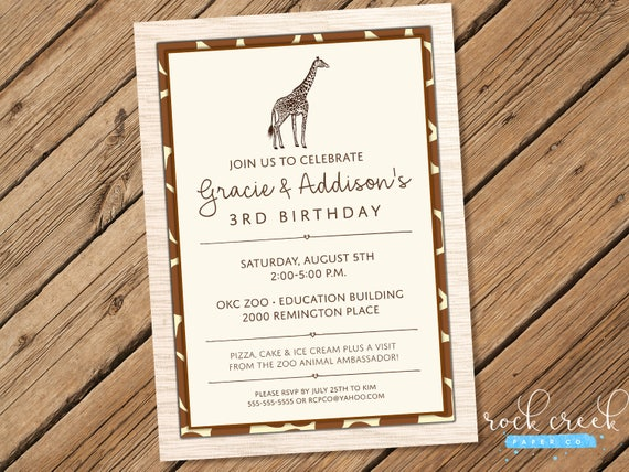 Safari Animals Invitation Zoo Birthday Party African Animal
