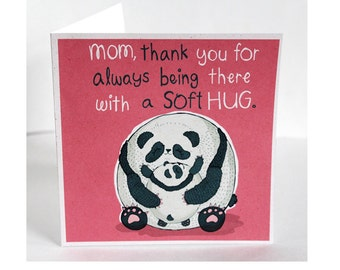Panda Hug, Square Mother's Day Card, by Spaghetti Toes, Greeting Card with Envelope