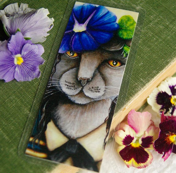 Morning Glory Flower Russian Blue Cat Bookmark