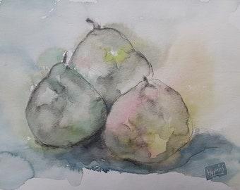 Original watercolor painting of fruit, pears, drawing