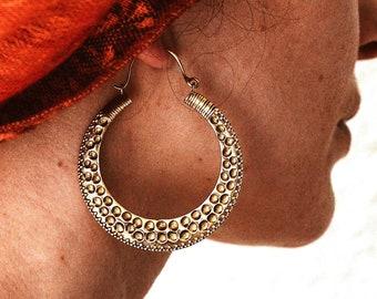 Big Hoops Earrings, Big Earrings, Brass Earrings, Ethnic Earrings, Tribal Brass Earrings, Ethnic Brass Earrings, Large Hoop Earrings, Boho