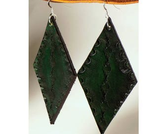 Green Diamond Leather Earrings, Sterling Silver, Hand Tooled Design, Dangling, Ear Wire Style, Ready to Ship