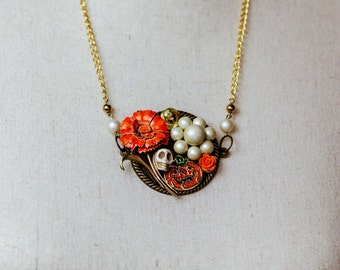 Halloween Collage Necklace, orange and white, skull and pumpkin jewelry, up cycled jewelry