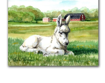 White Jack Donkey Foal Watercolor Original Painting LLMartin New Mom Burro Baby Nursery Free Shipping USA
