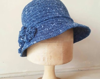 Blue cloche 1960s hat