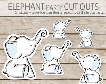 Blue Elephant Party Decoration - Instant Printable Download - Elephant Cut Outs - Elephant Baby Shower cut outs - toppers - favors - 3 sizes