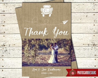 Wedding Thank You, Photo Card, Burlap Thank You, Picture, Thank You, Bridal Shower Thank You, Digital, file, Burlap, Car, Personalize