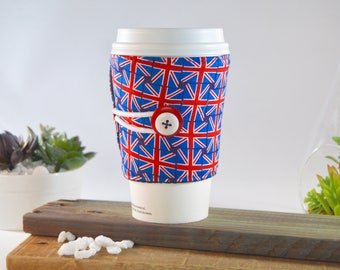 Union Jack Coffee Tea Cozy for Tapered Cups, British Flag Novelty Travel Sleeve Present, Adjustable Java Jacket Gift, Drink Carrier Holder