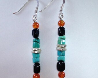 Ethnic earrings turquoise onyx silver