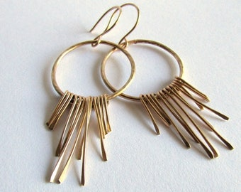 14K Gold Boho Fringe Earrings - Solid Gold Earrings - Boho Chic Jewelry - Anniversary Gift - Birthday Gift