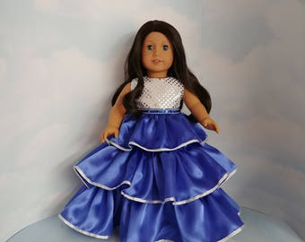 Royal Blue and Silver Ruffled Gown 18 inch doll clothes