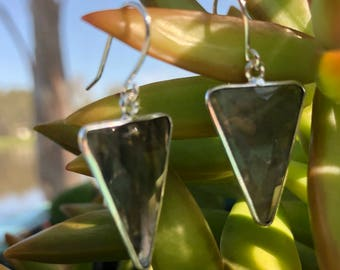 Arrow shapes silver plated brass bezeled Labradorite drops