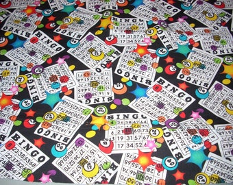"Bingo Cards  on black cotton Fabric -  44"" wide - sold by the yard"