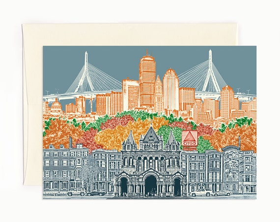 ON SALE! -- Boston, Massachusetts Notecard - Cityscape - folded Greeting Card - full color - Single or Set