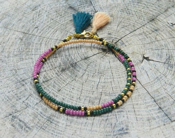 Beaded Friendship Bracelet, Seed bead Tassel Wrap bracelet Boho Jewelry Сolourful Tribal Bracelet dark green lilac Best Friend Gift for her