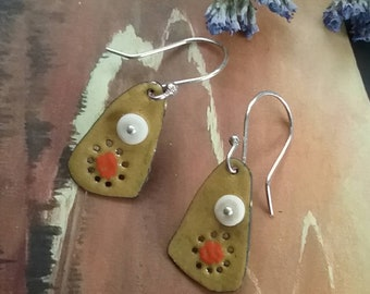 Gold torch fired enamel earrings