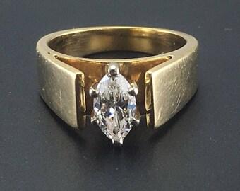 Vintage Diamond Engagement Ring -  14K Yellow Gold Marquise Diamond Ring - 3/4 Carat - VS - Size 6 - Wedding - Promise Ring # 4278