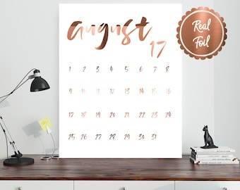 Monthly calendar print // Copper Foil calendar // desk calendar / august 2017 / copper calendar / office print / office accessory organiser