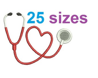 Heart Stethoscope Embroidery Design, Nurse Fill Embroidery Design Instant Download ER1031F6