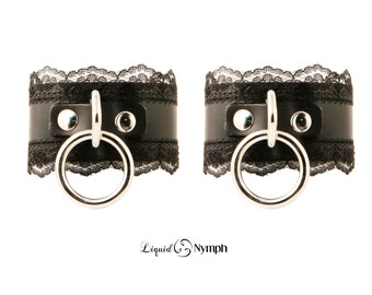 Christine Submissive Black Leather ORing BDSM Bondage Choker Lace Fetish Cuffs Fancy Bracelets - BDSM Kitten Play Wrist Cuffs, Mistress Play