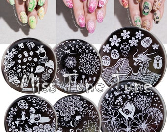 12pcs/Set Nail Stamping Plates Template Japanese Animation Flower Garden Pattern Image Small Size