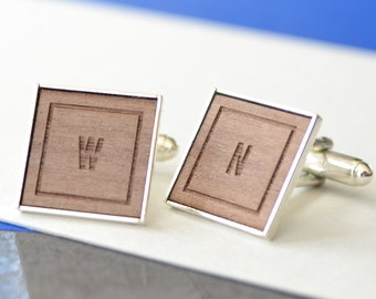 Personalised Classic Initial Cufflinks - Monogrammed Cufflinks - Father's Day Gift - Wooden Cufflinks - New Dad Gift - 5th Anniversary Gift