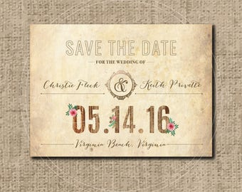 Custom Rustic Wedding Save the Date