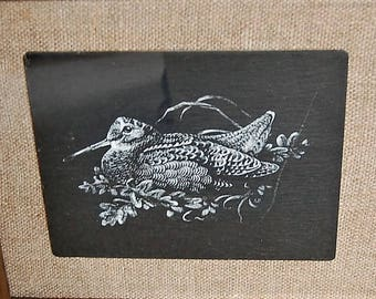 Etched Welsh Slate Nesting Bird Gloddfa Ganol Crafts Signed GP