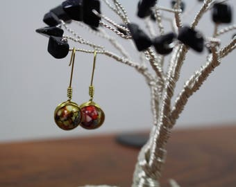 Unique Handmade Brass Wire Wrapped Earrings w/ Yellow & Orange Hand painted Eggshell Patterned Glass Beads as Centerpiece
