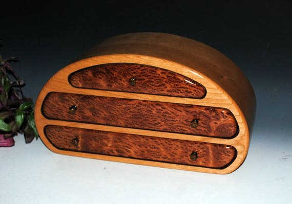 Handmade Wood Jewelry Box Nadia Style - Redwood Burl on Cherry by BurlWoodBox - Large Wooden Jewelry Box, Large Jewelry Box, Jewelry Storage
