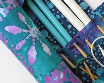 large knitting needle case - knitting needle organizer - batak in blues, purples and greens- 36 pockets