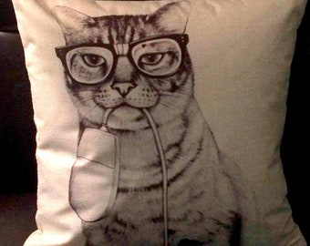 Nerd Cat with Mouse! Linen Pillow Cover