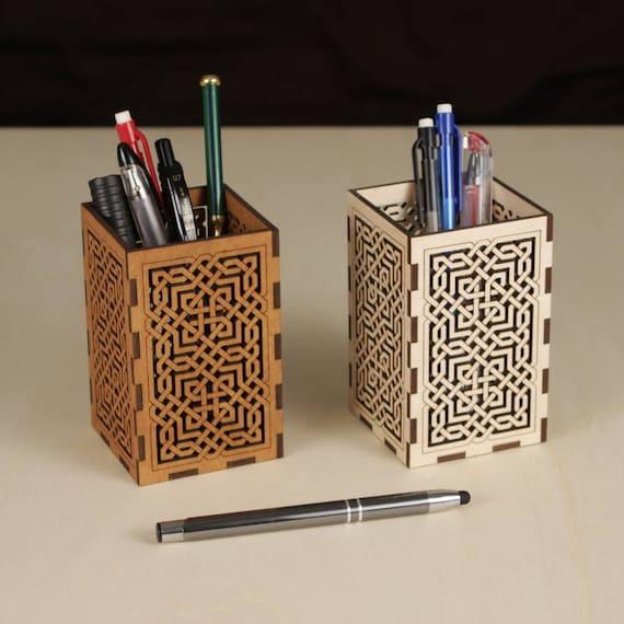 Khandekar (with device of K) Wooden Flower Design Carving Pen/Pencil Box,
