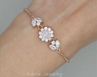 Blush Pink Bracelet Rose Gold Bracelet - Blush Pink Bridesmaid Bracelet - Blush Pink Jewelry - Blush Pink Bridesmaid Gift Swarovski jewelry