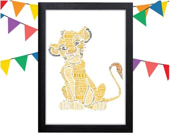 Personalized Gift Simba The Lion King Gifts Wall Art Wall Prints Wall Art Wall Decor New Baby Gift Personalised Gift Wall Art Prints Simba