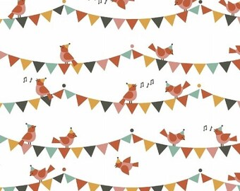 Party Animals - Singing Birds Fabric - Multi - Sold by the 1/2 Yard