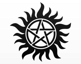 Decal Sticker Anti-Possession Symbol Supernatural Catholic Voodoo 80003
