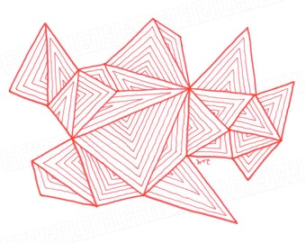 "Hand Drawn Geometric Art, Original Drawing, Pen and Ink, Freehand Abstract Art, Unique Gift - ""047"""