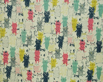 Cats Party - Printed Canvas Fabric - Cotton/Linen Blend - Printed in Japan