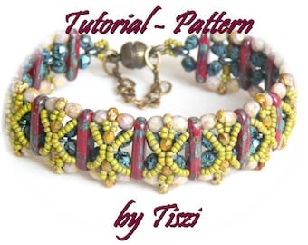 Beading pattern-tutorial of beaded bracelet Nasfa with two hole bars. PDF instructions for bracelet. Step by step tutorial