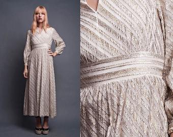 metallic maxi dress, goddess dress, long sleeve dress, empire maxi dress, Vintage 70s Shimmery Ivory Gold Silver XS S - extra small / SMALL