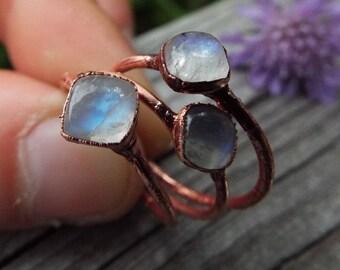 Mondsteinring, Mondstein, Kristallring, Edelsteinring, Kupferring, Boho ring, Moonstone, Moonstone ring, Copper ring, Water stone, Crystals
