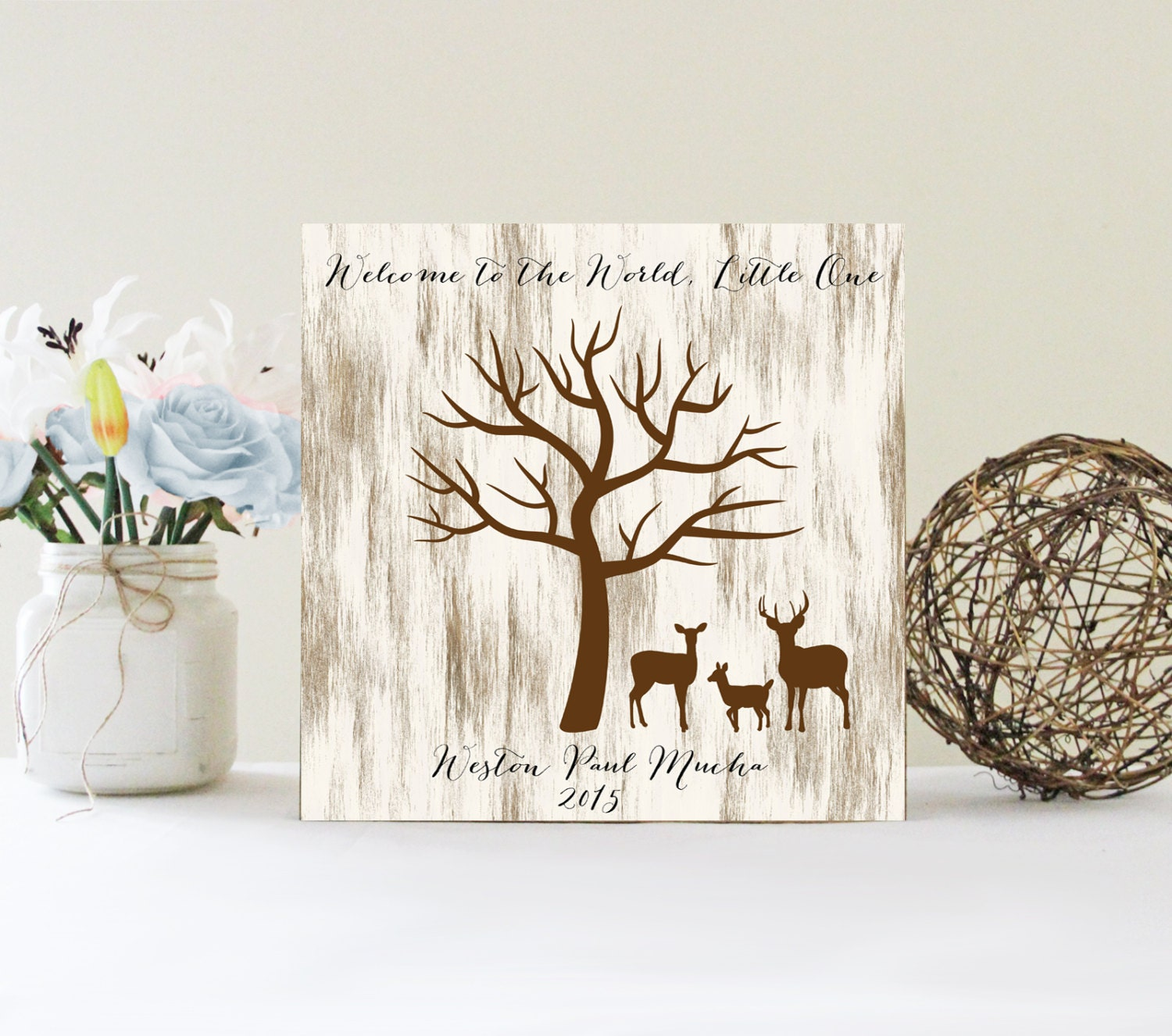 Baby Shower Fingerprint Tree Sign Guest Book Alternative