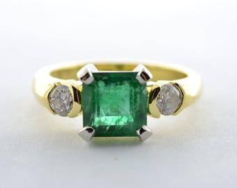 Emerald and Diamond 18K Yellow Gold and Platinum Ladies Ring - Size 8 - Appraisal 9,750