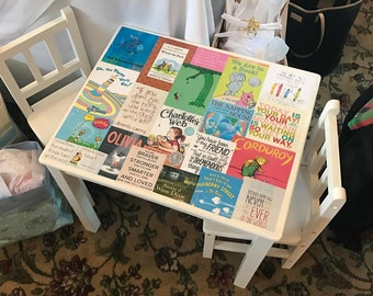 Book Cover Decorated Kid's Table