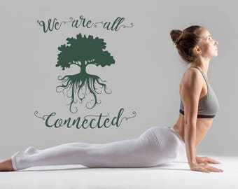 We are all connected decal, breathe decal, yoga vinyl decal, we are all dreamers, we are all connected, tree of life decal, connected sign