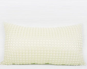 "Luxury Beige Textured Checkered Pillow Cover 12""X22"""